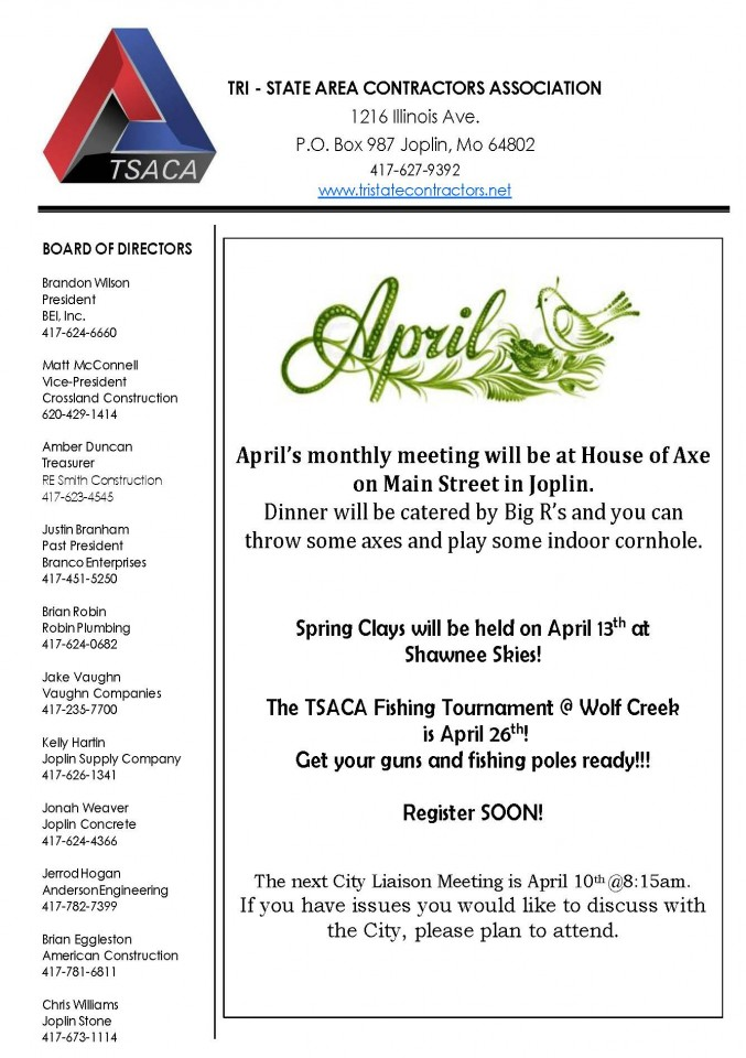 Tri-State Area Contractors Association - Newsletter